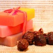 Handmade Soap and soap nuts closeup - Stock Photo