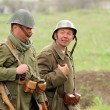 German soldiers of WW2 going in the field — Stock Photo #9124087