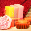 Handmade Soap, candles and towel closeup - Stock Photo