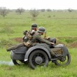German soldiers of WW2 at motorbile — Stock Photo #9124106
