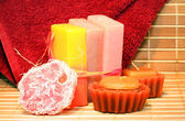 Handmade Soap, candles and towel closeup — Stock Photo