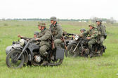 German soldiers of WW2 at motorbile — Stock Photo
