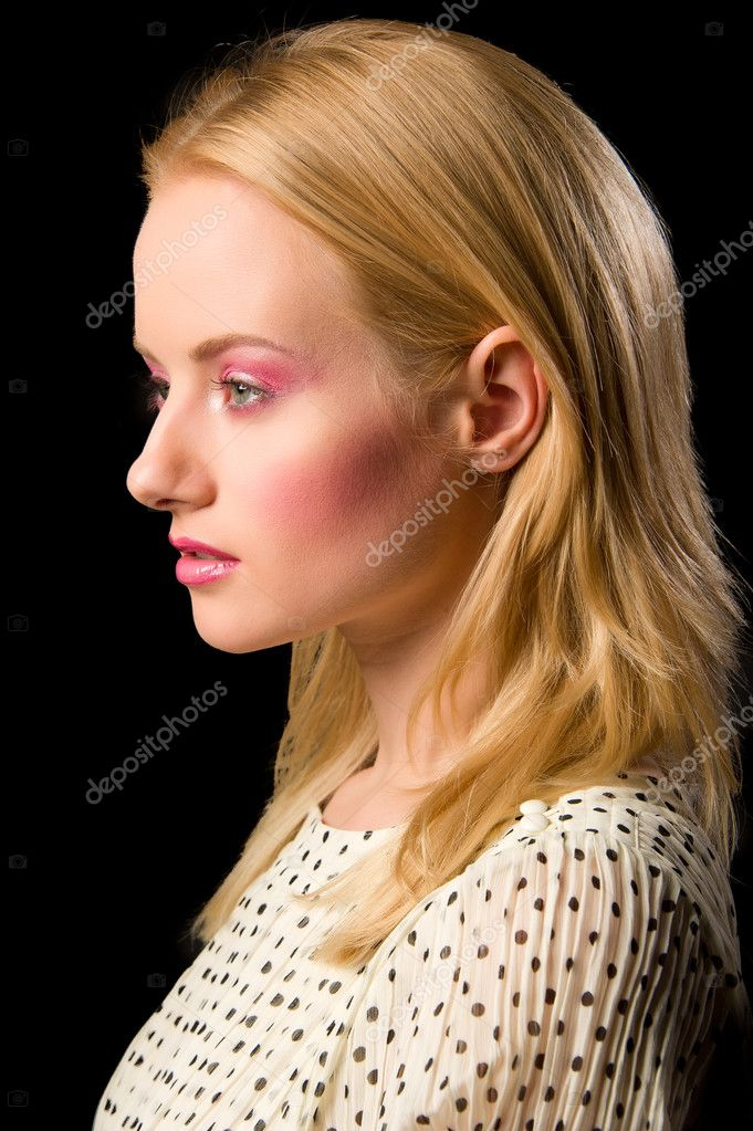Young blond girl portrait close-up with papillon — Stock Photo #9114929