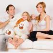 Happy Family playing at home — ストック写真