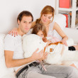 Happy Family playing at home - Stockfoto