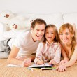 Happy family at home having fun — Stock fotografie