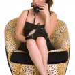 Brunette sitting and talking on a old phone in yellow shoes — Foto de Stock