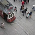 Tram and walking , Istiklal street, Beyoglu — Stock Photo