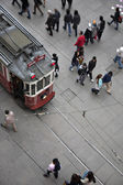 Tram and walking , Istiklal street, Beyoglu — Stock Photo
