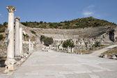 Harbour Street and Amphitheater of Ephesus — Stock Photo