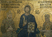 The Empress Zoe Mosaic. Christ Pantocrator, Emperor Constantine, — Stock Photo