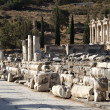 View of The library of Celsus from Marble street — Stock Photo #9390369