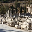 View of The library of Celsus from Marble street — Stock Photo