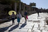Tourists walking on Kuretes street in Ephesus — Stock Photo