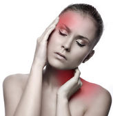 Woman with headache on white background — Stock Photo