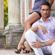 Sexy young couple resting on the outdoor — Stock Photo #9231075
