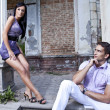 Sexy young couple resting on the outdoor - Stock Photo