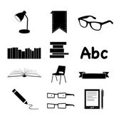 Black Books and Reading icons set — Stock Photo
