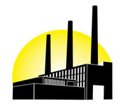 Black Factory with yellow round — Stock Vector