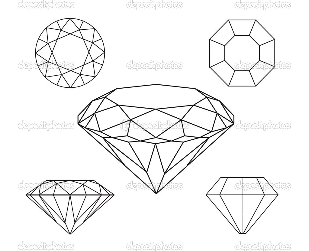 Diamonds Wireframe On White Background Stock Vector