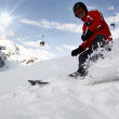 Skier in high mountains - Stockfoto