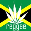 Jamaican reggae flag with marihuana leaf — Stock Photo