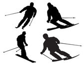 Skier silhouette — Stock Photo