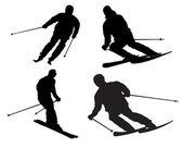 Skier silhouette — Stock Photo