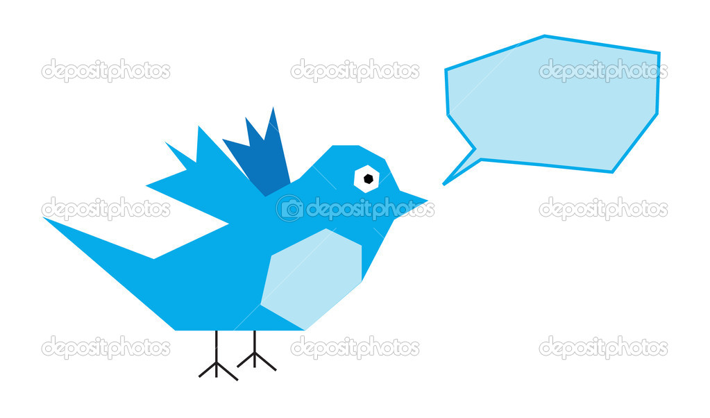Illustration of Twitter Bird on white background — Stock Photo #10256583
