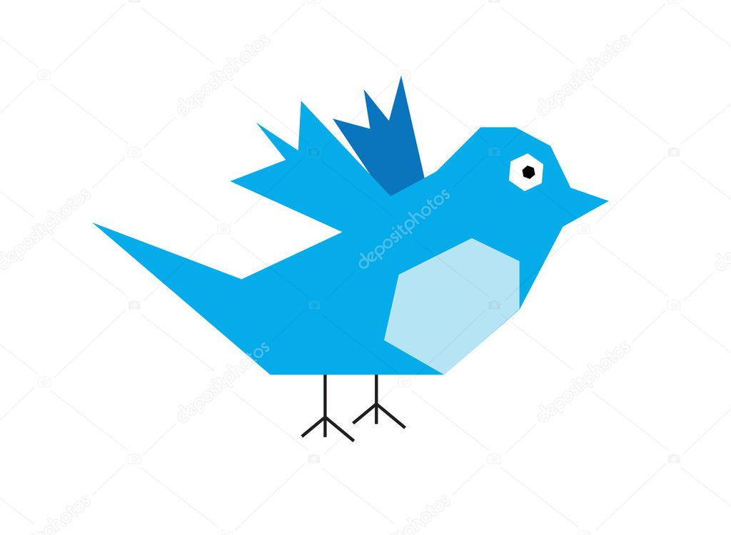 Illustration of Twitter Bird on white background — Stock Photo #10256700