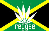 Jamaican reggae flag with marihuana leaf — Stock Vector