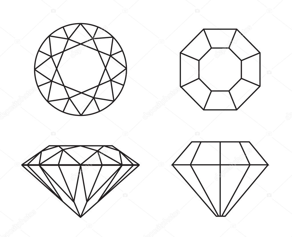 diamond line drawing top view sketch coloring page