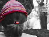 Women with kerchief and lady bug in hair — Stock Photo
