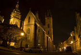 Night shot in Hradec Kralove Street — Stock Photo
