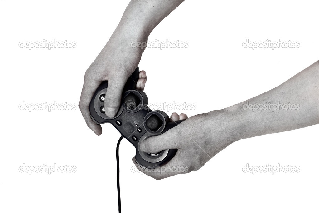 Zombie male hand hold video game controller isolated on white — Stock Photo #10270292