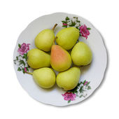Pears and plate isolated — Stock Photo