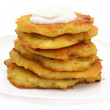 Potato pancakes with sour cream on a plate - Stock Photo
