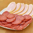 Slices of salami and bacon — Stock Photo