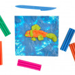 Children's applique of plasticine and plasticine — Stock Photo