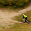 Stock Photo: Motion blur of cyclist riding in the park