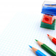 Royalty-Free Stock Photo: Sharpeners and pencils on a white background.