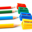 Sharpeners and pencils on a white background. — Stock Photo
