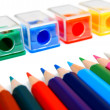 Sharpeners and pencils on a white background. — Foto de Stock