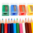 Sharpeners and pencils on a white background. — Zdjęcie stockowe