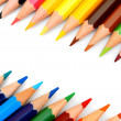 Colour pencils on a white background. — Foto Stock