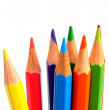 Colour pencils on a white background. - Stock Photo