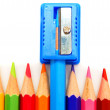Sharpener and pencils on a white background. — Stockfoto