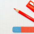 Eraser, pencil and sharpener. — Stock Photo