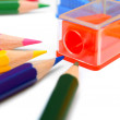 Sharpener and pencils on a white background. — Foto Stock