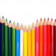 Colour pencils on a white background. — Stock fotografie